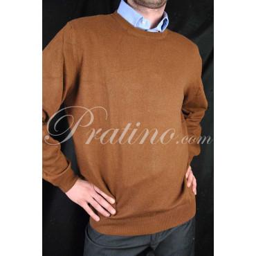 Pullover Girocollo Uomo 2Fili Misto Cachemire Marrone 52/54 XL