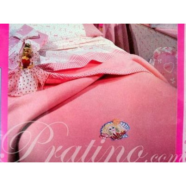 COPERTA Singola 150x210 Ricamo Barbie Rosa -  Camera da Letto