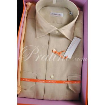 CASSERA Camicia Uomo Francese 16 41 Puro Lino Beige