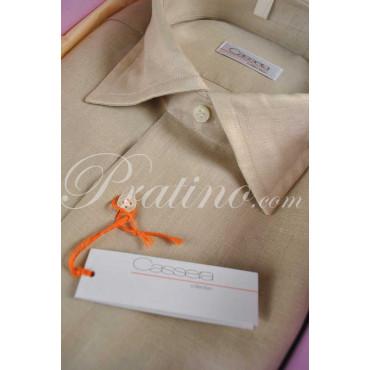 CASSERA Camisa de Hombre francés de 16 41 Puro Lino de color Beige