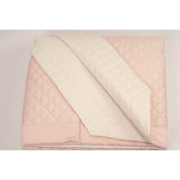 Quilted bedspread Double Pink Cotton Satin 260x260 - channeled and quilted 2 Squares