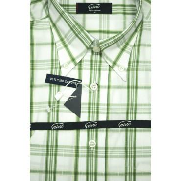 Man Shirt M 40-41 ButtonDown Green Plaid Poplin
