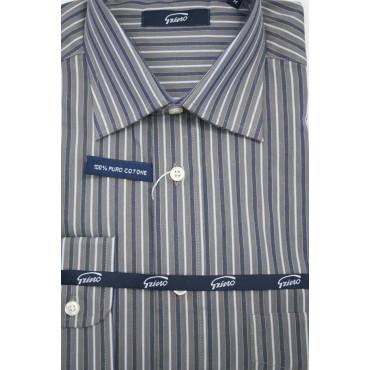 Homme shirt M 40-41 cou française des traits Gris, Bleu et Blanc