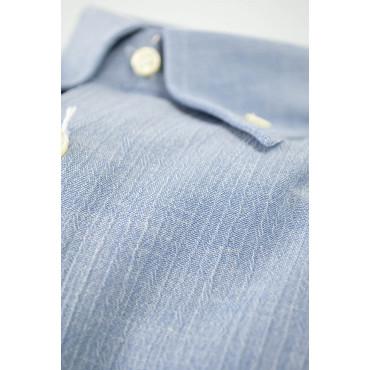 CASSERA Camicia Uomo 15 38 Celeste Goffrato ButtonDown