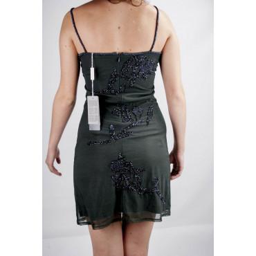 Vestido de las Mujeres Mini Vestido Elegante S Black - Spray de Perlas y Lentejuelas