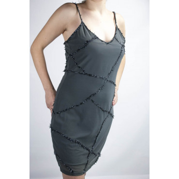 Dress Women's Mini Dress Elegant S - Gray the Intersection of Beads and Sequins