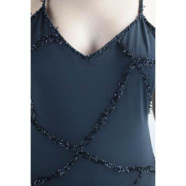 Abito Donna Mini Tubino Elegante M Blu - Incrocio di Perline e Paillettes