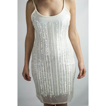 Dress Women's Mini Dress Elegant M - White Rows of Beads and Sequins