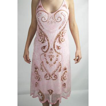 Gown Women's Elegant sheath Dress-XL-Pink - Sequins and Beads Arabesque