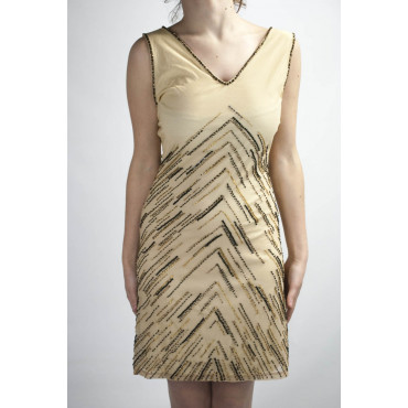 Dress Women's Mini Dress Elegant M - Beige Beaded ZigZag Brown