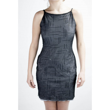 Dress Women's Mini Dress Elegant M Grey Black - Beaded cross Black