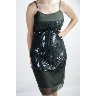 Dress Women's Mini Dress Elegant M Dark Gray - Sequined Vertical rain