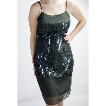 Vestido de las Mujeres Mini Vestido Elegante M de color Gris Oscuro - Lentejuelas Vertical de la lluvia