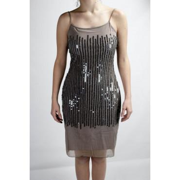 Dress Women's Mini Dress Elegant L Dark Beige - Sequined Vertical rain