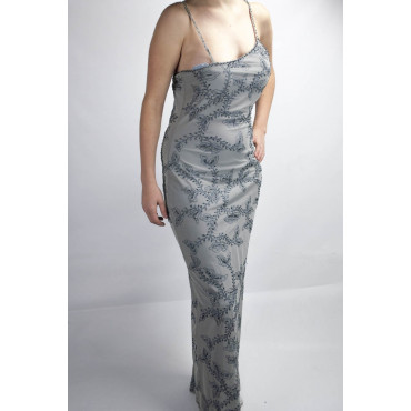 Dress Woman Dress Long to the feet the Stylish M-Light Grey - Floral Embroidery and Black beads