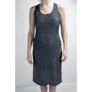 Gown Women's Elegant sheath Dress S Grey - studded Beads