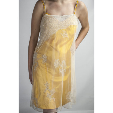 Dress Women's Mini Dress Elegant S Yellow - White Tulle Beading and Sequins