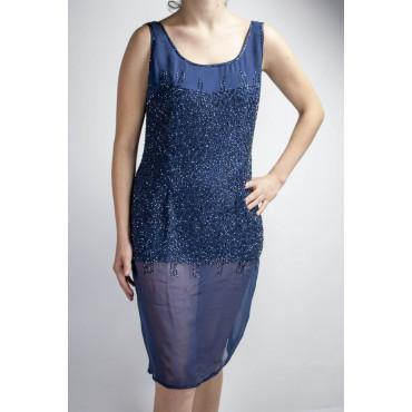 Abito Donna Tubino Elegante M Blu - tempestato di Perline semi trasparente