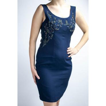 Abito Donna Tubino Elegante M Blu - Fiori di Perline sulla scollatura