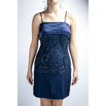 Elegant Woman Sheath Dress M Blue - Satin Band with Beaded Flowers