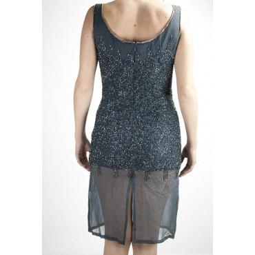Elegant Woman Sheath Dress M Gray - studded with semi-transparent beads