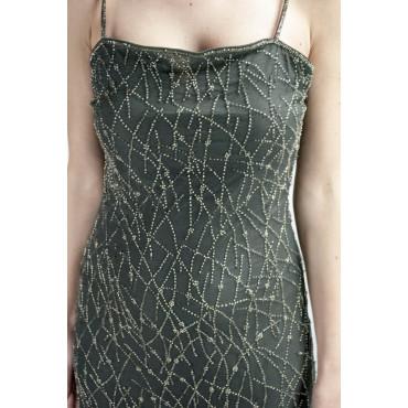 Elegant Mini Sheath Dress Woman M Dark Gray - Silver Crossed Beads