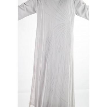 Woman Long Overcoat Elegant M Light Gray - Embroidery Tulle Black beads