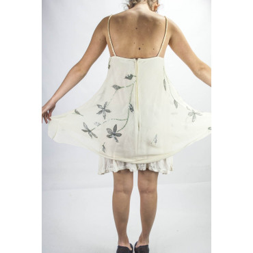 Elegant Trapeze Woman Mini Dress M Ivory - Floral Embroidery and Sequins