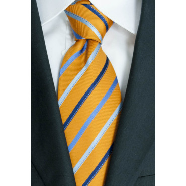 Tie Orange Regimental Heavenly Blue - 100% Pure Silk - Made in Italy