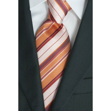 Tie Orange Regimental Red - 100% Pure Silk - Made in Italy