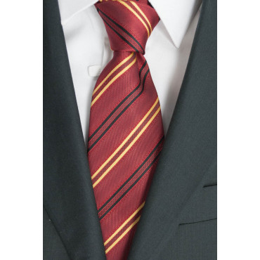 Tie Red Regimental-Yellow-Black - 100% Pure Silk - Made in Italy