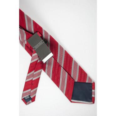 Cravatta Rosso Regimental Grigio - 100% Pura Seta - Made in Italy