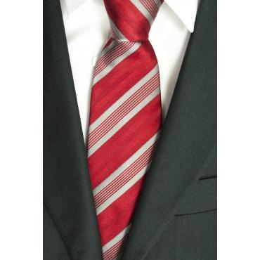 Krawatte Regimental Rot-Grau - 100% Reine Seide - Made in Italy