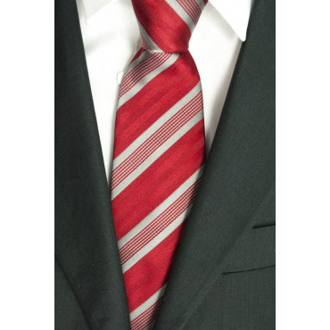 Tie Red Regimental Grey - 100% Pure Silk - Made in Italy