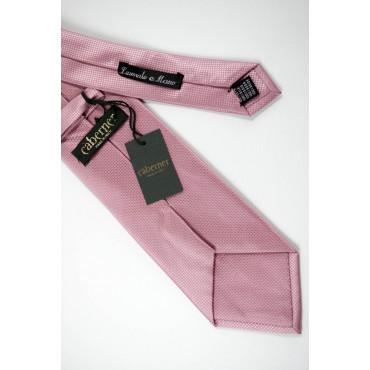 Cravatta Rosa Tintaunita Lavorazione Piccoli Quadretti - 100% Pura Seta - Made in Italy