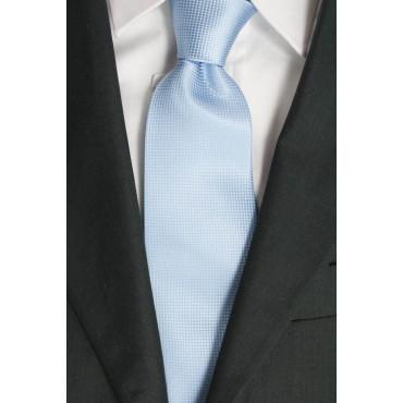 Cravatta Celeste Tintaunita Lavorazione Piccoli Quadretti - 100% Pura Seta - Made in Italy
