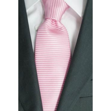 Cravatta Rosa Tintaunita Lavorazione Righe Orizzontale - 100% Pura Seta - Made in Italy