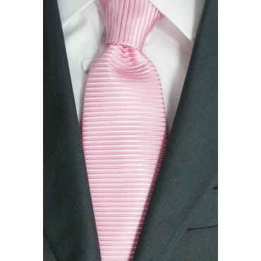 Pink tie Tintaunita Machining Horizontal Lines - 100% Pure Silk - Made in Italy