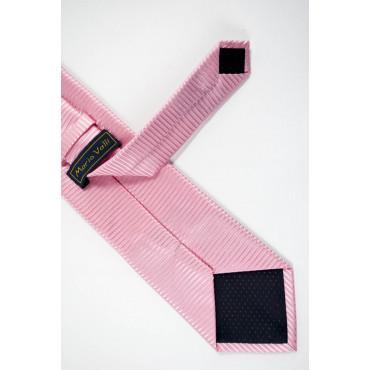 Pink tie Tintaunita Machining Horizontal Lines - 100% Pure Silk - Made in Italy