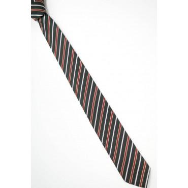Cravatta Stretta 7,5 Nero Regimental Rosso Bianco - 100% Pura Seta - Made in Italy