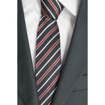 Krawatte Enger 7,5 Schwarz Regimental Rot-Weiß - 100% Reine Seide - Made in Italy
