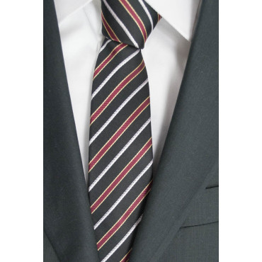 Narrow tie 7,5 Black Regimental Red White - 100% Pure Silk - Made in Italy