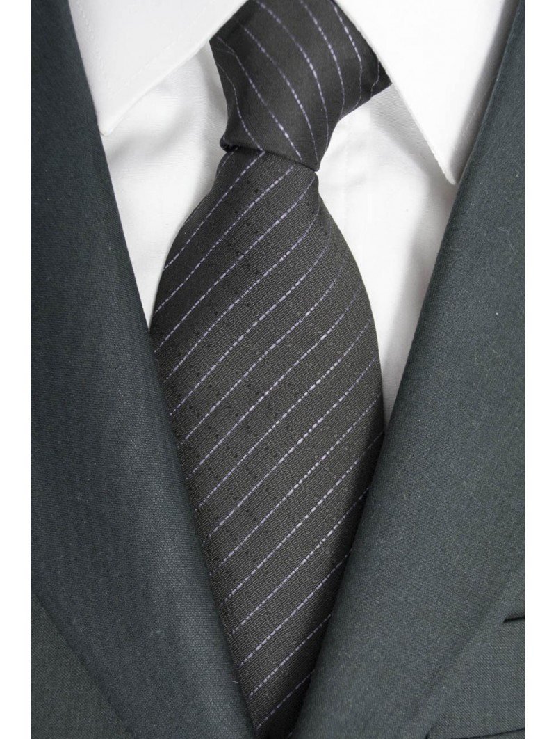 Tie a Large Grey Regimental Pink - 100% Pure Silk - Made in Italy