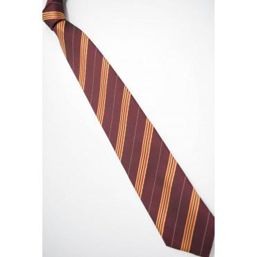 Cravatta Larga Rosso Regimental Giallo - 100% Pura Seta - Made in Italy