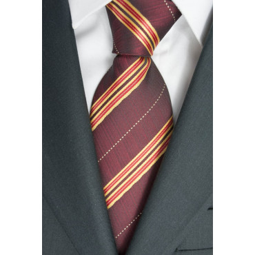 Tie a Large Red Regimental - Yellow 100% Pure Silk - Made in Italy