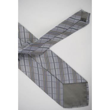Cravatta Grigio Chiaro Quadri Beige - 100% Pura Seta - Made in Italy
