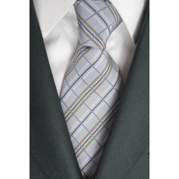 Krawatte Hellgrau Karo-Beige - 100% Reine Seide - Made in Italy