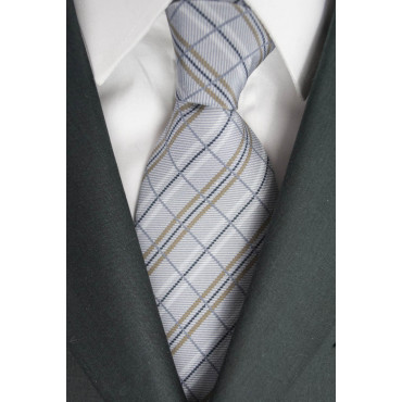 Tie Light Grey Panels Beige - 100% Pure Silk - Made in Italy