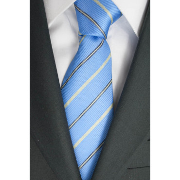 Tie The Heavenly Regimental Ice - 100% Pure Silk - Regina Schrecker