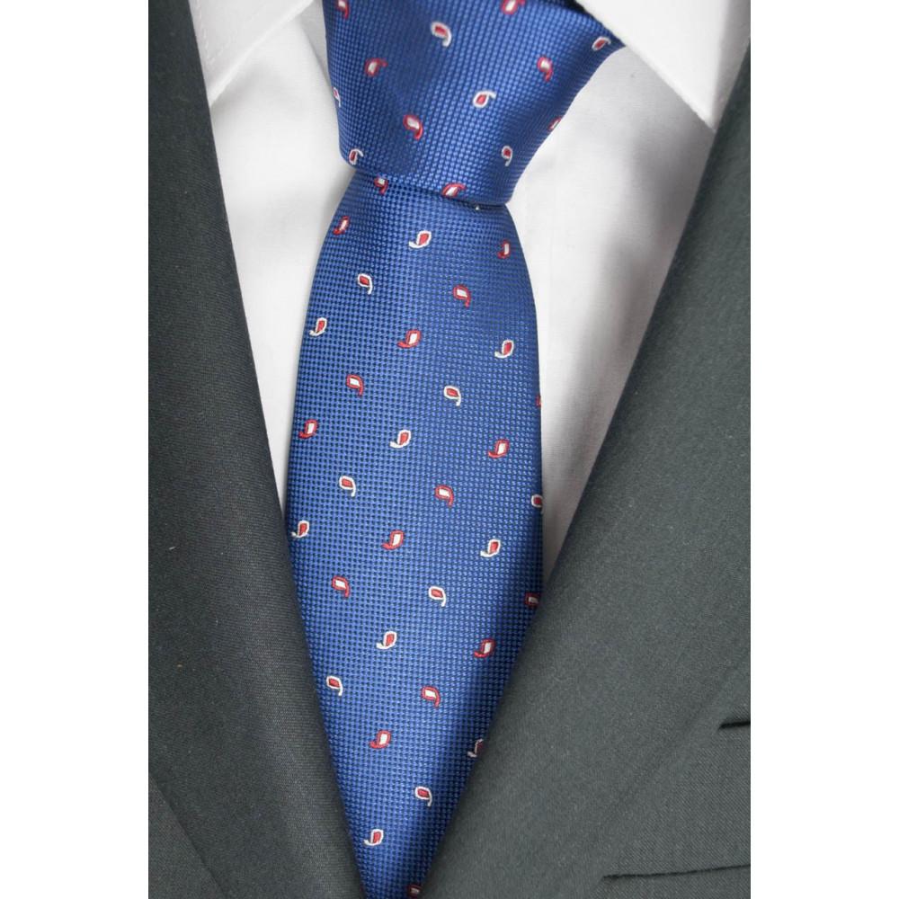 Cravatta Blu Chiaro Piccoli Disegni Rosso- 100% Pura Seta - Made in Italy